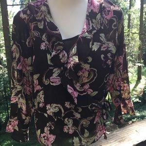 Emma James floral brown petite 2 piece blouse set